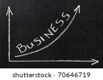 Chalkboard with finance business graph showing upward trend - stock photo