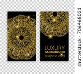 business card set golden... | Shutterstock .eps vector #706468021