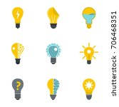 idea bulb icons set. flat... | Shutterstock .eps vector #706468351