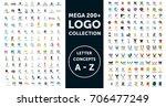 mega logo collection. letter... | Shutterstock .eps vector #706477249