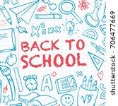 funny banner back to school... | Shutterstock .eps vector #706477669