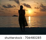 silhouette of woman on the... | Shutterstock . vector #706480285