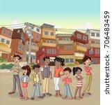 street of poor neighborhood... | Shutterstock .eps vector #706483459