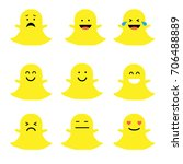 set of smiley ghosts  | Shutterstock .eps vector #706488889