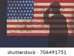 serviceman on the background of ... | Shutterstock .eps vector #706491751