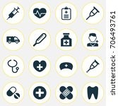 medicine icons set. collection... | Shutterstock .eps vector #706493761