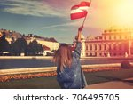 young woman showing austrian... | Shutterstock . vector #706495705