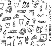 different school icons seamless ... | Shutterstock .eps vector #706496407