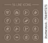 set of 16 sport outline icons... | Shutterstock .eps vector #706497271