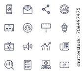 set of 16 commercial outline... | Shutterstock .eps vector #706497475