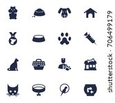 set of 16 pets icons set... | Shutterstock .eps vector #706499179