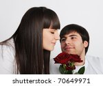 young woman smelling roses  her ... | Shutterstock . vector #70649971
