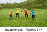 joyful active people doing... | Shutterstock . vector #706501147