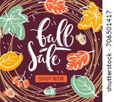 autumn sale flyer template with ... | Shutterstock .eps vector #706501417