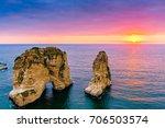 beautiful sunset on raouche ... | Shutterstock . vector #706503574