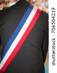 back of french mayor man with a ... | Shutterstock . vector #706504219