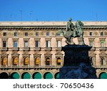 King Vittorio Emanuele II monument in Duomo cathedral square in Milan, Italy - stock photo