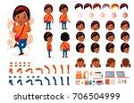 little black african girl... | Shutterstock .eps vector #706504999