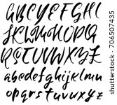 hand drawn dry brush font.... | Shutterstock .eps vector #706507435