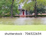 flooded houses in houston area... | Shutterstock . vector #706522654
