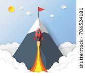 rocket ship to red flag on the... | Shutterstock .eps vector #706524181