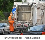 garbage truck on the street | Shutterstock . vector #706528585