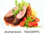 glazed duck fillet  mashed... | Shutterstock . vector #706530991