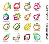 fruit thin line icon set vector ...   Shutterstock .eps vector #706531399