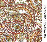 damask paisley seamless pattern.... | Shutterstock .eps vector #706533661