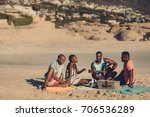 group of friends with guitar... | Shutterstock . vector #706536289