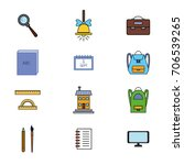 vector colorful school icons... | Shutterstock .eps vector #706539265