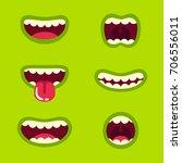 funny green monster mouth set... | Shutterstock .eps vector #706556011