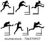 set athletics running hurdles...   Shutterstock .eps vector #706570957