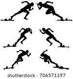 set athletics runners sprinters ... | Shutterstock .eps vector #706571197