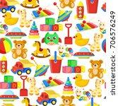 toys pattern or kid cartoon... | Shutterstock .eps vector #706576249