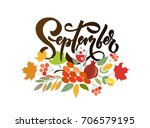 september lettering typography. ... | Shutterstock .eps vector #706579195