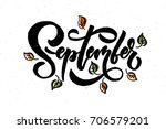 september lettering typography. ... | Shutterstock .eps vector #706579201