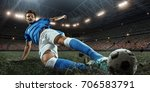 soccer player performs an... | Shutterstock . vector #706583791