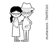 caricature full body elderly... | Shutterstock .eps vector #706592161
