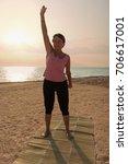 mature woman doing gymnastic...   Shutterstock . vector #706617001
