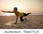 mature woman doing gymnastic...   Shutterstock . vector #706617115