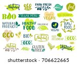 set of healthy organic food... | Shutterstock .eps vector #706622665