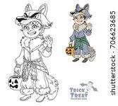 cute boy in werewolf costume... | Shutterstock .eps vector #706623685