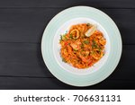seafood paella with rice ... | Shutterstock . vector #706631131