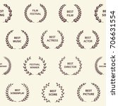 retro film award wreaths.... | Shutterstock .eps vector #706631554