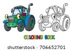 funny small tractor with eyes.... | Shutterstock .eps vector #706652701