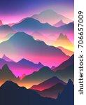abstract neon mountain...   Shutterstock .eps vector #706657009