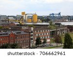 warehouses and cranes dominate...   Shutterstock . vector #706662961