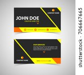 yellow and black business card... | Shutterstock .eps vector #706667665