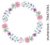 watercolor leaves pink wreath... | Shutterstock . vector #706671061